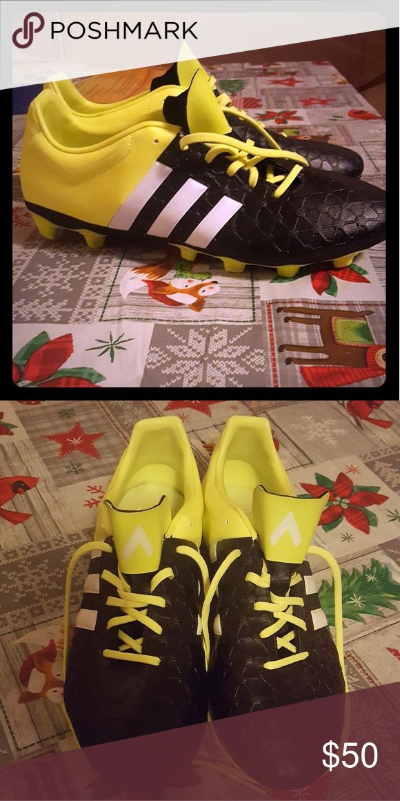 Adidas football cleats Adidas football cleats only wore once still fresh and brand new size 11 Style 15.4 fresh yellow and black color adidas Shoes Athletic Shoes