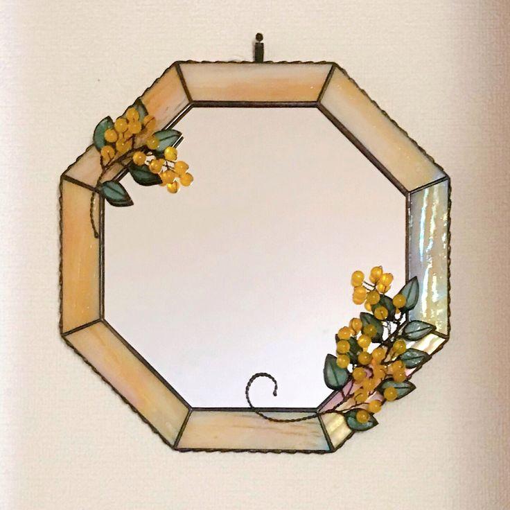 送料無料 ミモザの八角形鏡 鏡 八角 タペストリー壁掛け