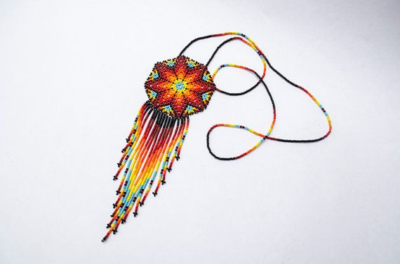 Hand-Crafted Mexican Huichol Beaded Peyote Flower Necklace - Native American Jewelry - Boho Chic - Beadwork Mandala