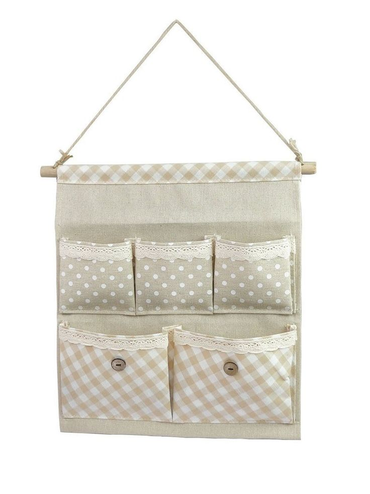 Tandi Linen/Cotton Fabric Wall Door Closet Hanging Storage Bag Case 5 Pocket Home Organizer White Polka Dots: Amazon.co.uk: Kitchen & Home