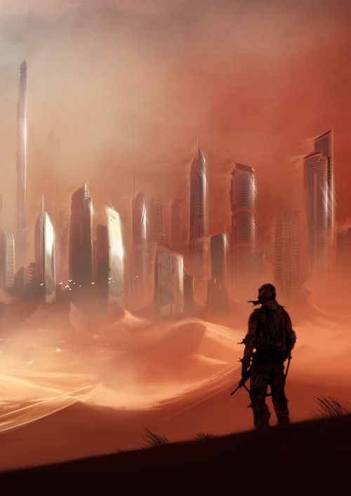 This is concept art for a game called spec ops the line and this game utilises the sand scenery really well and could be a great reference point.