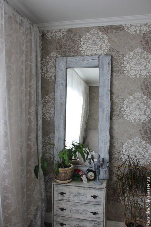 Купить Интерьерное зеркало в состаренной деревянной раме - интерьерные зеркала, старинное зеркало, состаренное зеркало