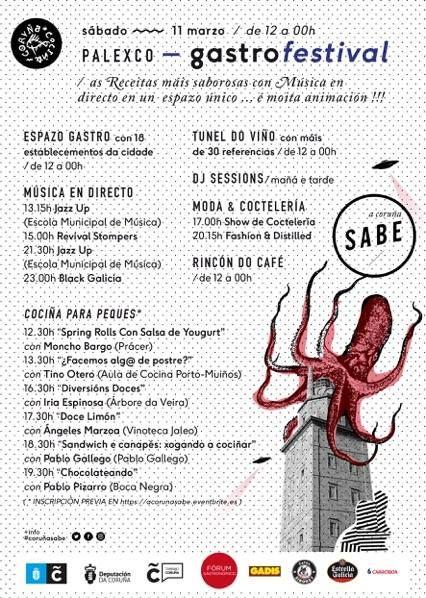 ¿Sabes todo lo que te ofrece el menú de #CoruñaSabe?   Un espacio gastro con 18 restaurantes, talleres de cocina para niños, un túnel del vino, un rincón del café, DJ session y música en directo, moda, coctelería y mucho más.   Recuerda que tienes una cita este sábado 11 de marzo de 12.00 a 00.00h en Palexco. Palacio de Exposiciones y Congresos. A Coruña. #CoruñaSabe #CoruñaCociña #saboreacoruña
