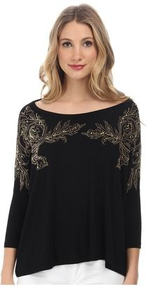 Versace Collection Dolman Sleeve Embellished T-Shirt - Shop for women's T-shirt - Nero/Termo Oro T-shirt