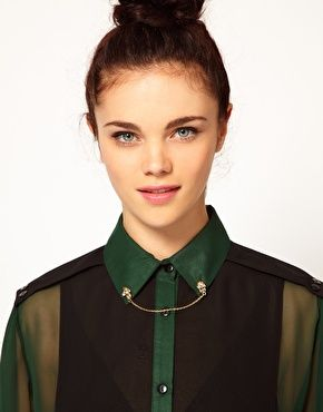 River Island Skull Pin Collar Tips