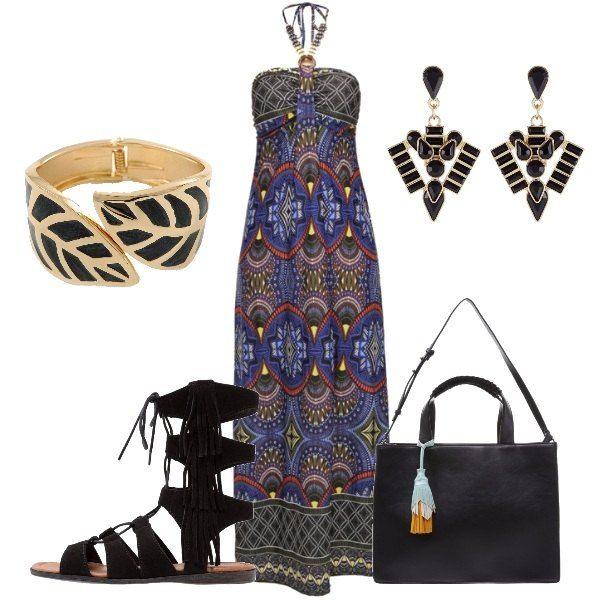 L'outfit+è+composto+da+un+abito+lungo+fantasia+con+coppe+imbottite,+sandali+bassi+con+frange+ed+una+shopping+bag+con+nappina+Pepe+Jeans.+Completano+il+look+gli+orecchini+pendenti+ed+il+bracciale+rigido.