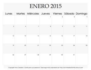 Calendarios para el 2015: Descarga, imprime y organiza tu mes: Calendario Enero 2015