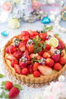 Strawberry Custard Cream Tart 苺のカスタードクリームタルト