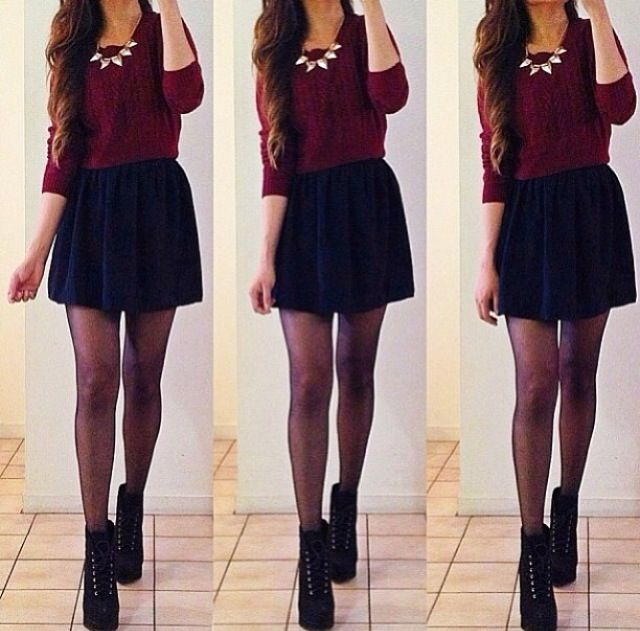 Burgundy sweater and navy blue skirt with black booties