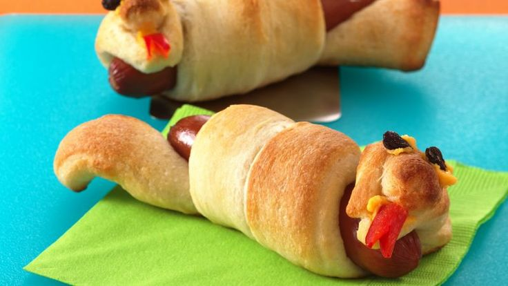 Wrap a refrigerated breadstick around a hot dog for the silliest supper around!
