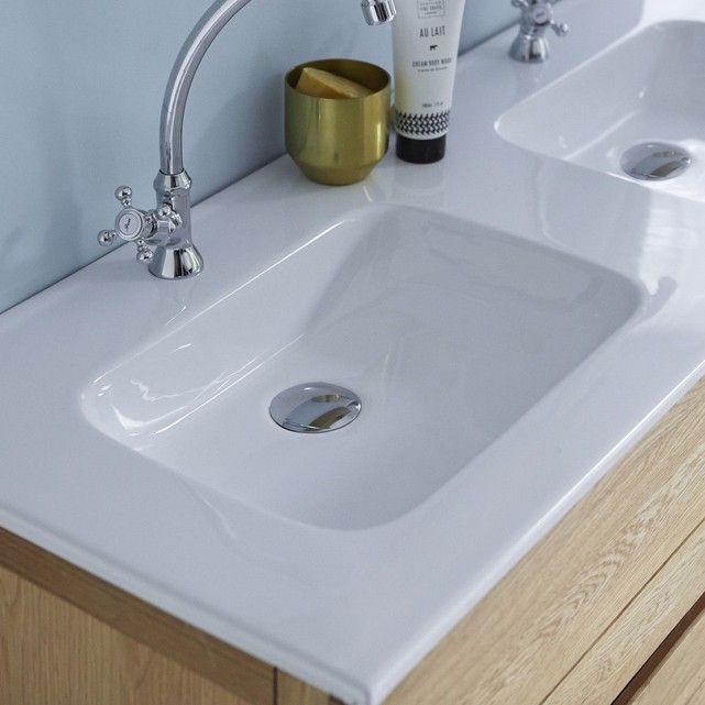 Meuble Salle De Bain En Bois De Chene Et Ceramique 120 Easy Chene Tikamoon La Redoute Diy Bathroom Remodel Bathroom Remodel Designs Bathroom Design Layout