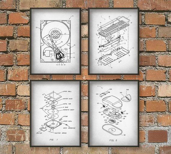 Wall Art Home Hardware : Computer geek wall art poster set of no