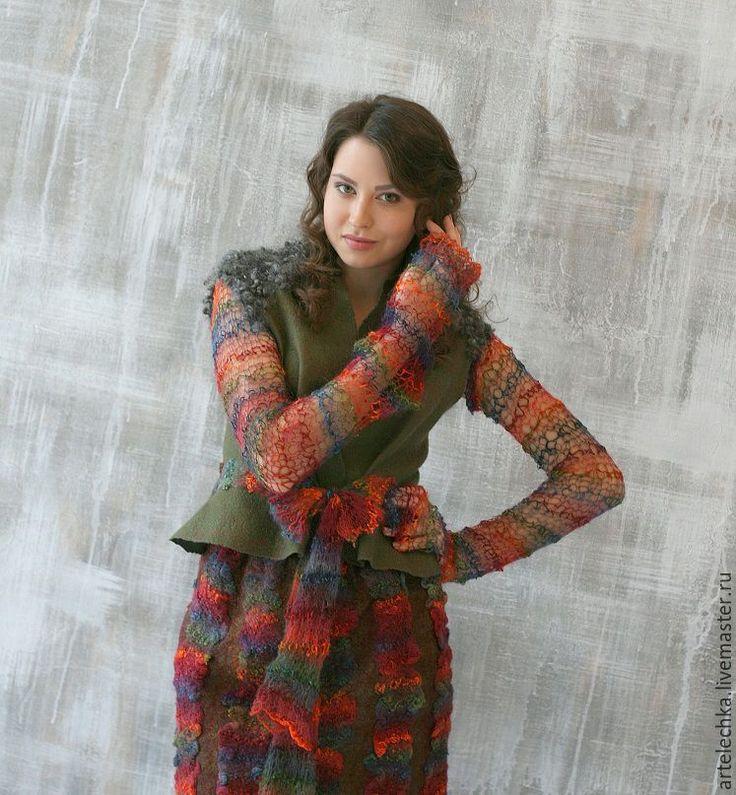 """Купить Костюм валяный """"Песня Канарейки""""жилет+юбка - бордовый, ягодный, костюм валяный, Жилет войлочный"""