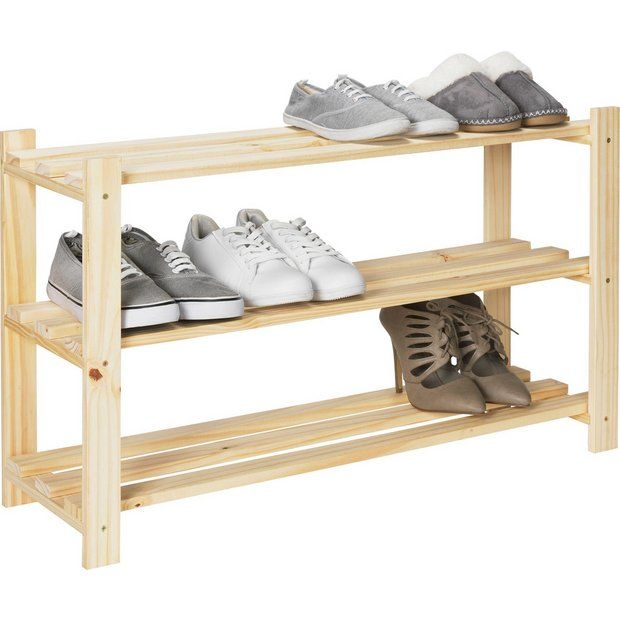 Buy HOME 3 Shelf Shoe Storage Rack - Solid Unfinished Pine at Argos.co.uk - Your Online Shop for Shoe storage, Storage, Home and garden.