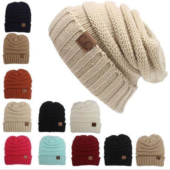 Women Wool Winter Warm Cap Crochet Warm Knit Knitted Beanie Ski ...