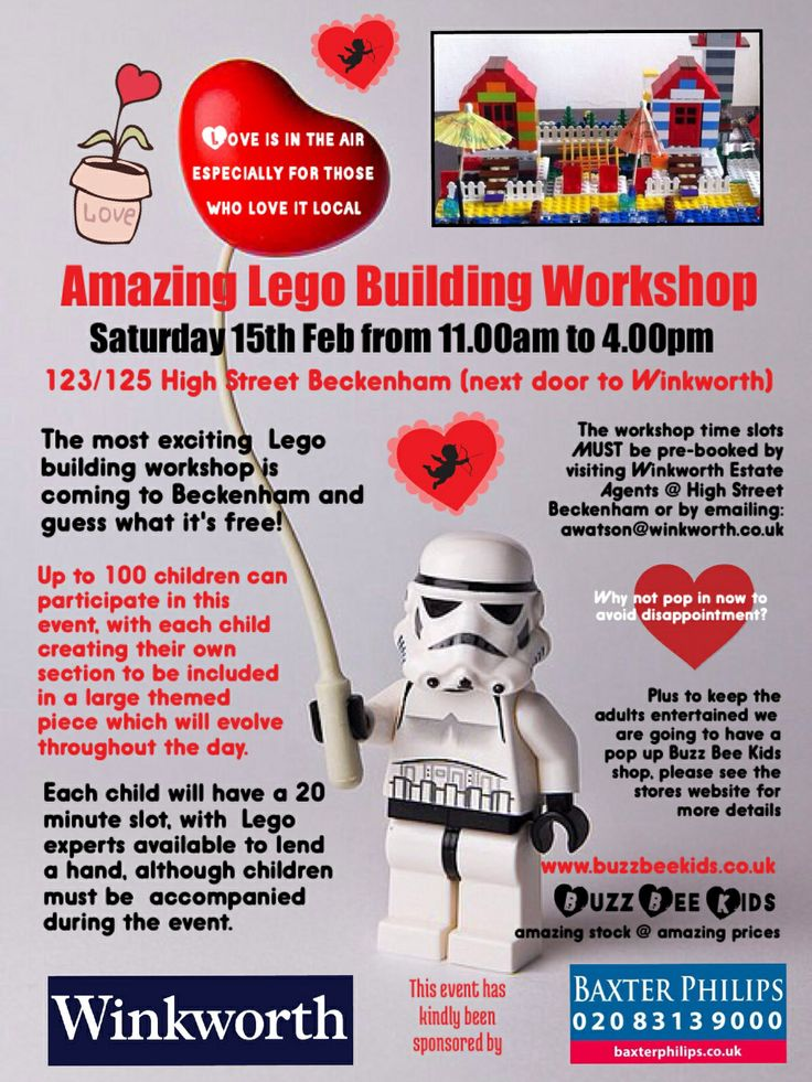 Amazing Lego Workshop this weekend in Beckenham High Street, plus other events happening within town centre also, going to be a great weekend! X