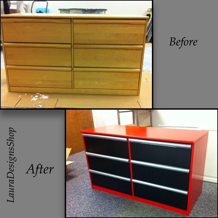 I turned this plain dresser into a little boys craftsman tool box dresser. +Red…