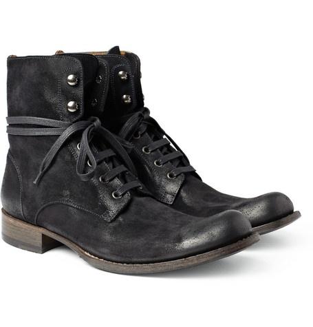 John Varvatos Six O Six Convertible Suede Boots Black