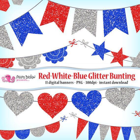Rosso bianco e blu Glitter Bunting Banner Clipart. 4 luglio