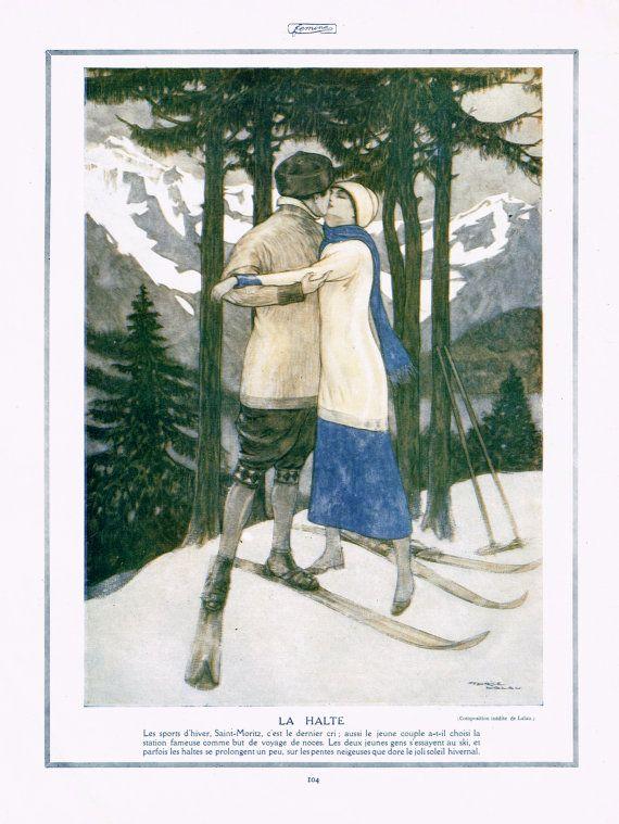 1914 Original Antique French Parisian Femina Magazine Print La Halte Lovers by Maurice Lalau, Romantic Couple Kiss in The Snow of St.Moritz