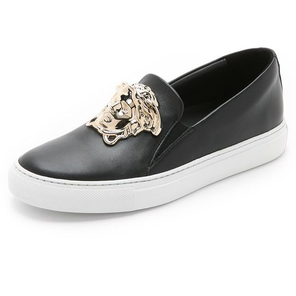 Versace Medusa Sneakers (62,635 INR) ❤ liked on Polyvore featuring shoes, sneakers, genuine leather shoes, versace sneakers, versace shoes, slip-on shoes and pull-on sneakers