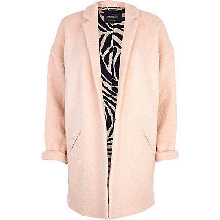 Light pink boucle oversized coat - coats - coats / jackets - women