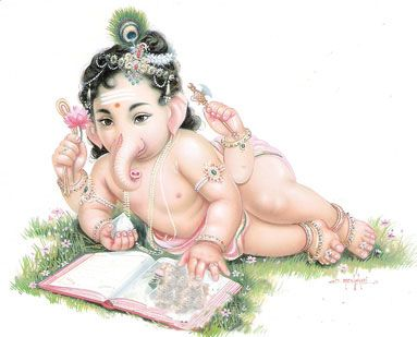 Picture of Baby Ganesha reading a book