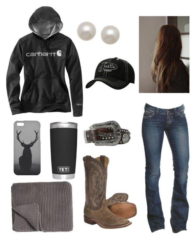 """""""Cold Morning In The Yards"""" by babyinblue ❤ liked on Polyvore featuring Carhartt, 1921, M&F Western, Mr. Gugu & Miss Go, Honora, Justin Boots and Mélange Home"""
