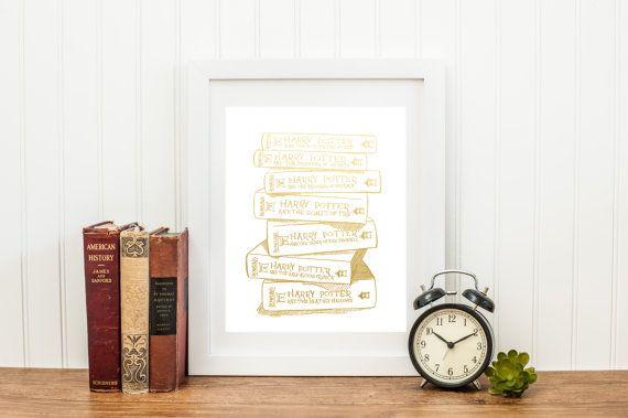 Blattgold-Harry Potter-Stapel Bücher 8 x 10 oder 5 von BellaAdeleCo