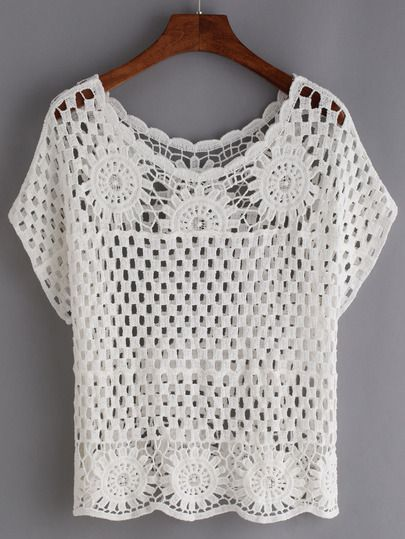 Örgü  Örgülow Out Crochet Top - White