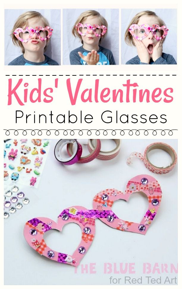 Kids' Valentine's Glasses! A fun and silly craft that is perfect for a classroom party with preschool and kindergarten kids! #DIYcrafts #valentinecrafts