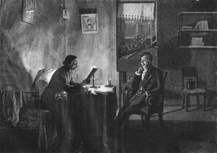 Михаил Петрович Клодт (фон Юргенсбург) (1835-1914) Пушкин у Гоголя. 1887 г.