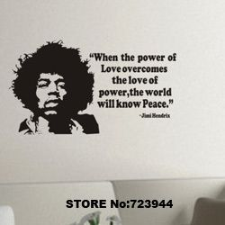 music wall stickers home decor for kids rooms Jimi Hendrix rock vinyl wall art quotes posters mural stickers(China (Mainland))