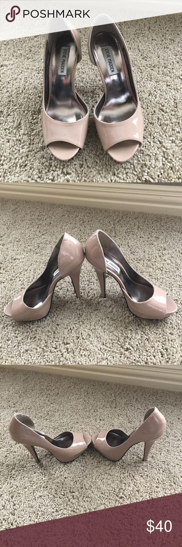 Steve Madden Emele nude patent open toed heels Great used condition size 7/ (5 inch heel) Steve Madden Shoes Heels