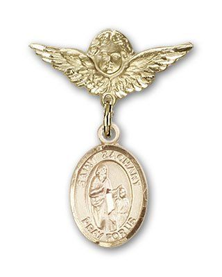 ReligiousObsession's 14K Gold Baby Badge with St. Zachary Charm and Angel with Wings Badge Pin >>> Read more  at the image link. (This is an Amazon Affiliate link and I receive a commission for the sales)