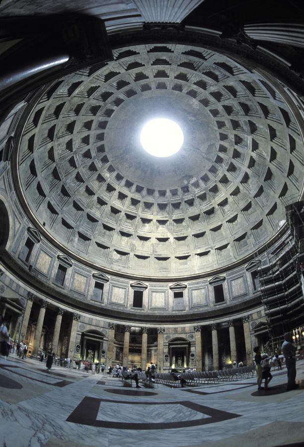 The interior of the Pantheon, the oldest domed building. It was built by Hadrian from 118-125 A.D Rome Italy