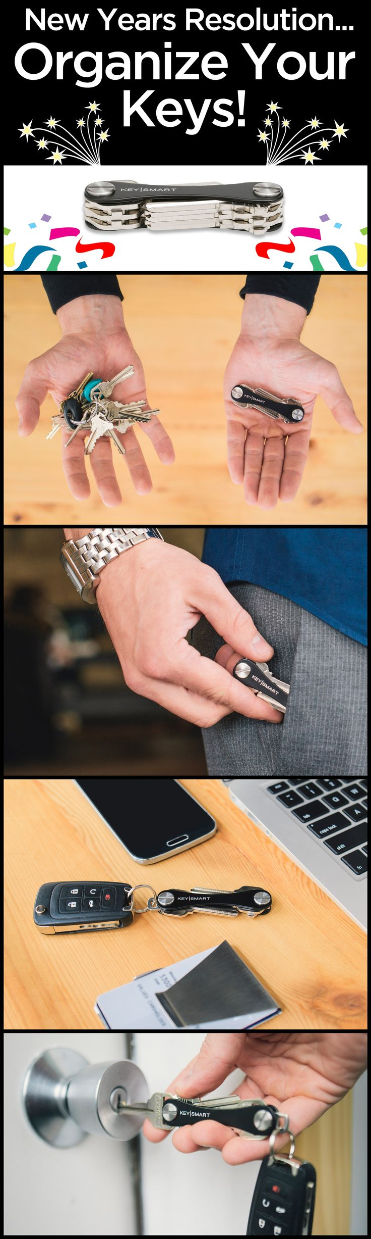 If your New Years resolution is to finally get organized, here's a perfect device to keep your keys nice and orderly! Instead of sorting through that messy key ring, Key Smart makes your keys compact and organized. It saves room in your pockets or purse, and transforms your key ring into a an awesome little multi-tool.