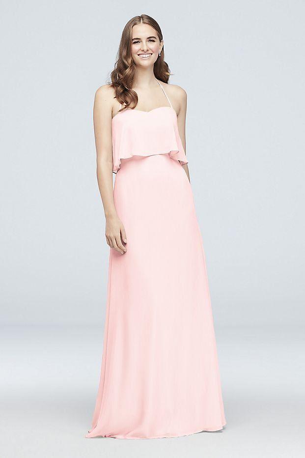 David's Bridal Chiffon Long Bridesmaid Dress