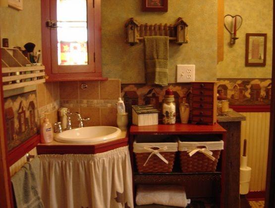 121 best primitive bathrooms images on pinterest prim for Country living bathroom designs