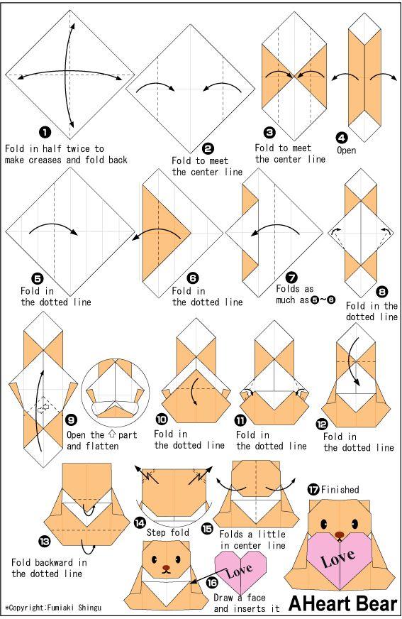 origami bear and heart