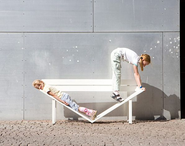 """Jeppe Hein """"social-benches"""" - several weird and playful benches & people interacting with them."""