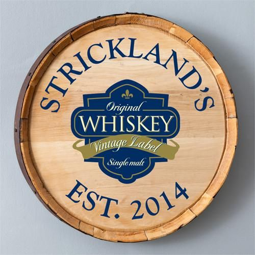 Make a statement in your home bar, basement or man cave with the personalized whiskey barrel wall sign. Made from authentic whiskey barrels, these real wood sig