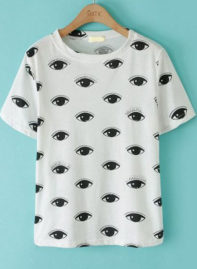 Camiseta ojos manga corta-blanco pictures