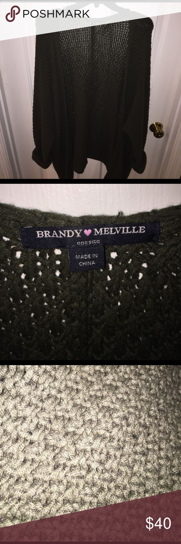 NWOT Brandy Melville cardigan. Olive green NEW WITHOUT TAGS. Worn only 2 times. Brandy Millville, one size cardigan. Beautiful knit pattern. Purchased from PacSun. Very thick. Brand new. Brandy Melville Sweaters Cardigans