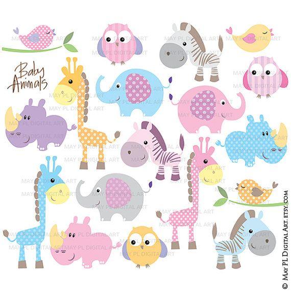 Baby Animals Clipart DIY Baby Shower Pastel by MayPLDigitalArt