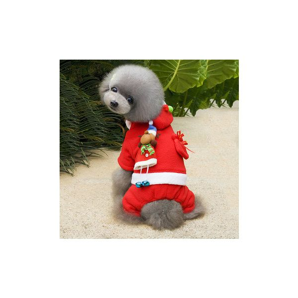 Pet Puppy Dog Christmas Costume Coat Warm Winter Pet Clothes ($10) ❤ liked on Polyvore featuring white
