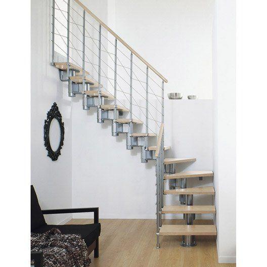 Escalier modulaire Longline, marches bois/ structure métal chromé