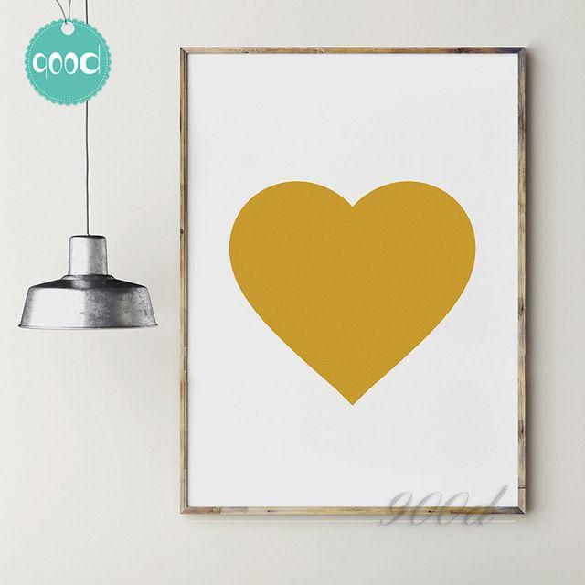 Or Coeur Impression Toile Art Print Affiche de Peinture, Image de mur pour La Décoration, mur Décor YE046