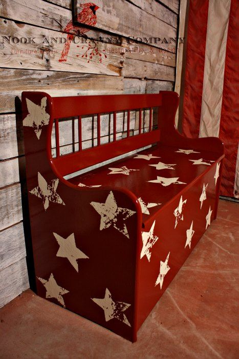 Child's Toy Box   Toy Chest   Red furniture   Stars   Americana   Painted Furniture