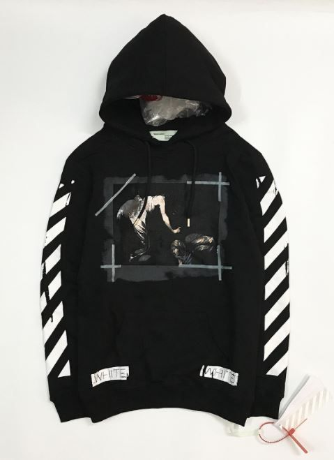 9c50dff98574 Off White Caravaggio Religion Distressed Hoodie Black Finesse your hoodie  game and strut the streets in this Off White Caravaggio Hoodie!